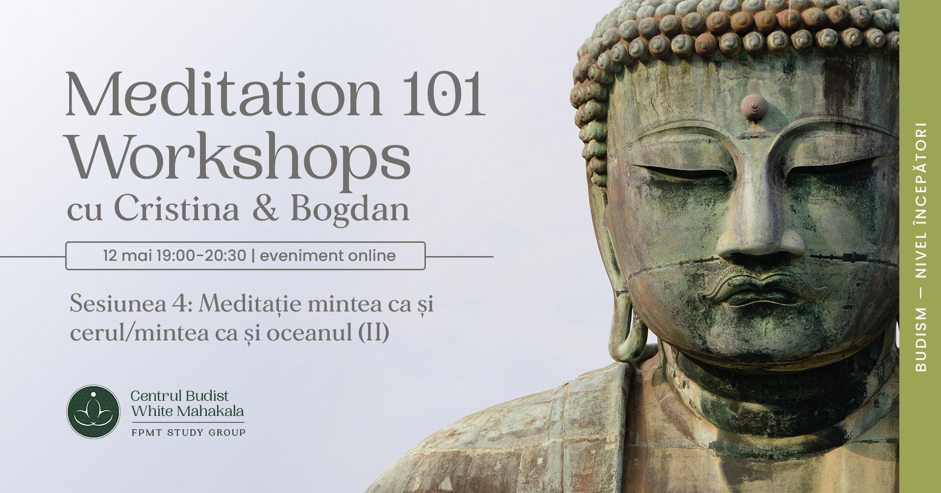 MEDITATION 101- Workshops. Sesiunea 4: Meditatie Mintea ca si cerul/Mintea ca si oceanul (II)